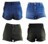 Wholesale Womens Ex Chainstore Denim Turn Up Shorts High Rise Blue & Olive
